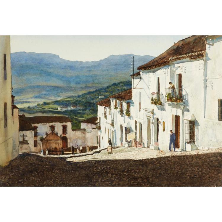 DONALD TEAGUE, (AMERICAN 1897-1991), MEDITERRANEAN VILLAGE, SAID TO BE RONDA, SPAIN
