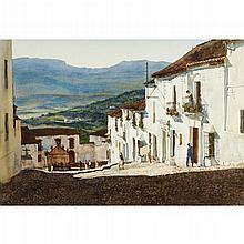 DONALD TEAGUE, (AMERICAN 1897-1991), MEDITERRANEAN VILLAGE, SAID TO BE RONDA, SPAIN