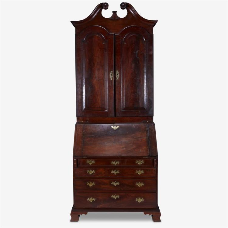 Chippendale walnut desk-and-bookcase,