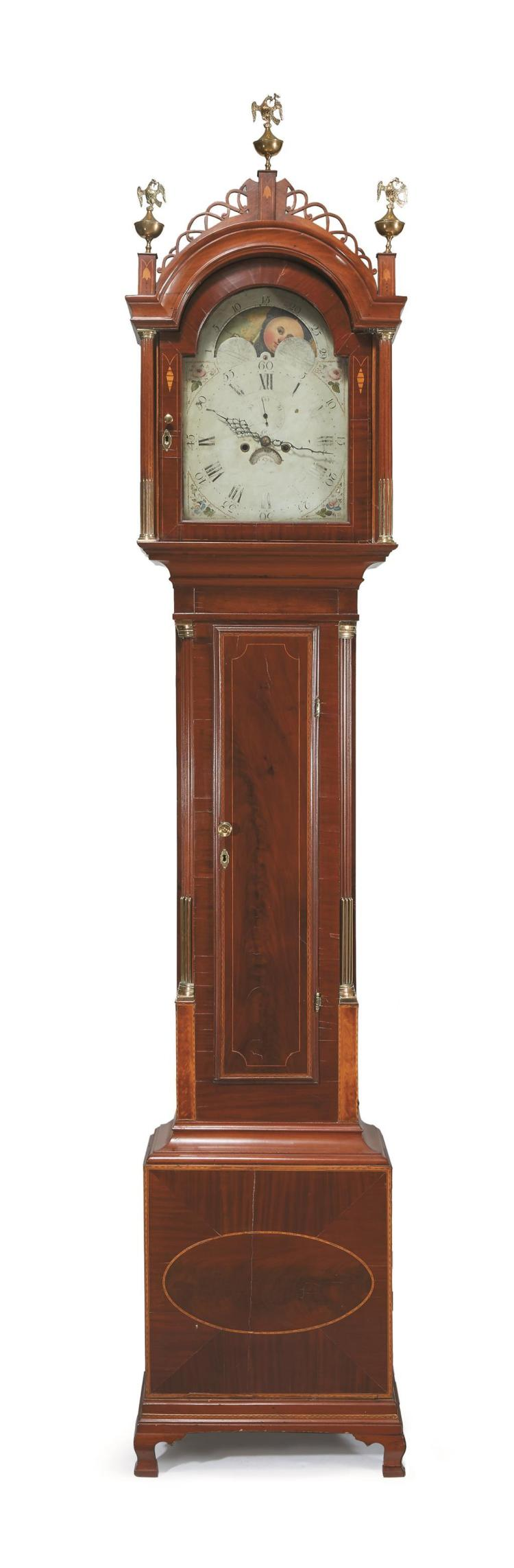 Federal inlaid mahogany tall case clock, early 19th century