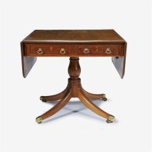 English Regency string inlaid mahogany sofa table, circa 1820