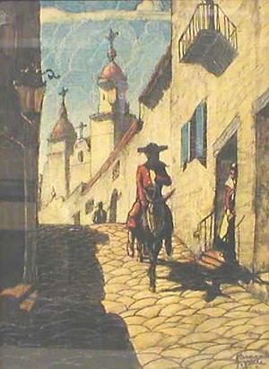 HERNANDO GONZALLO VILLA (American 1881-1952) MEXICAN STREET SCENE
