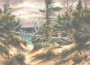 AVERY FISCHER JOHNSON (American 1906-1990) A FALLEN TREE IN THE DUNES