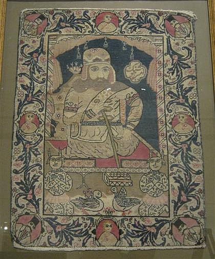 Laver Kerman pictorial rug, southeast persia, circa late 19th century, Framed.