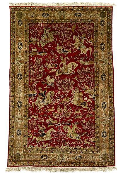 Silk Qum hunting rug, central persia, circa mid 20th century,