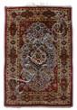 Silk and metal thread Souf Kashan rug, central persia, circa 1900,