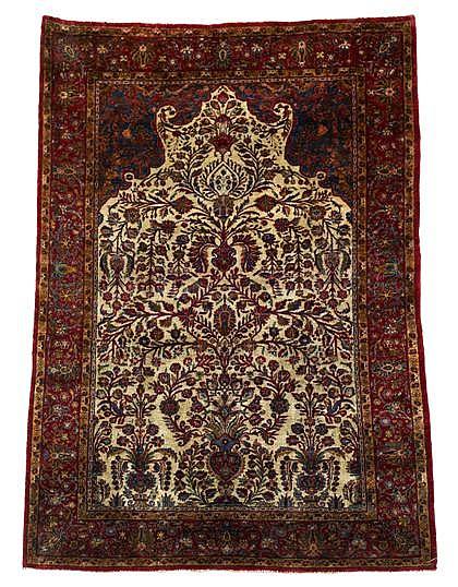 Silk Kashan prayer rug, central persia, circa 1920,