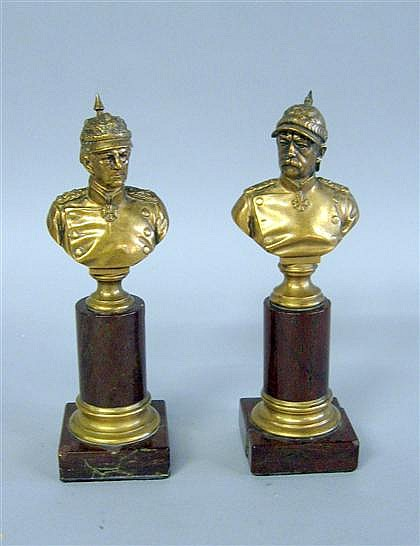 Two gilt bronze busts of Prussian officers, late 19th century, One by Waldemar Uhlmann (German, 1840 - 1896) and the other inscribed Ei