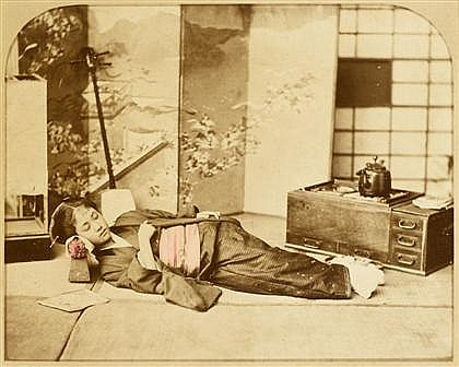 ATTRIBUTED TO RAIMUND VON (BARON) STILLFRIED-RATHENITZ, (AUSTRIAN 1839-1911), SLEEPING GEISHA