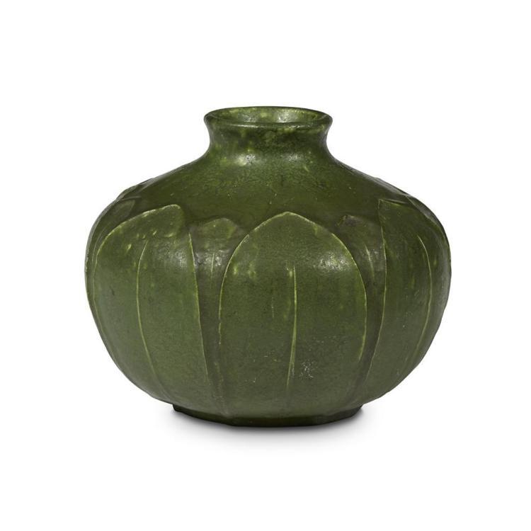 Wilhelmina Post For Grueby Squat Bulbous Matte Green Vase