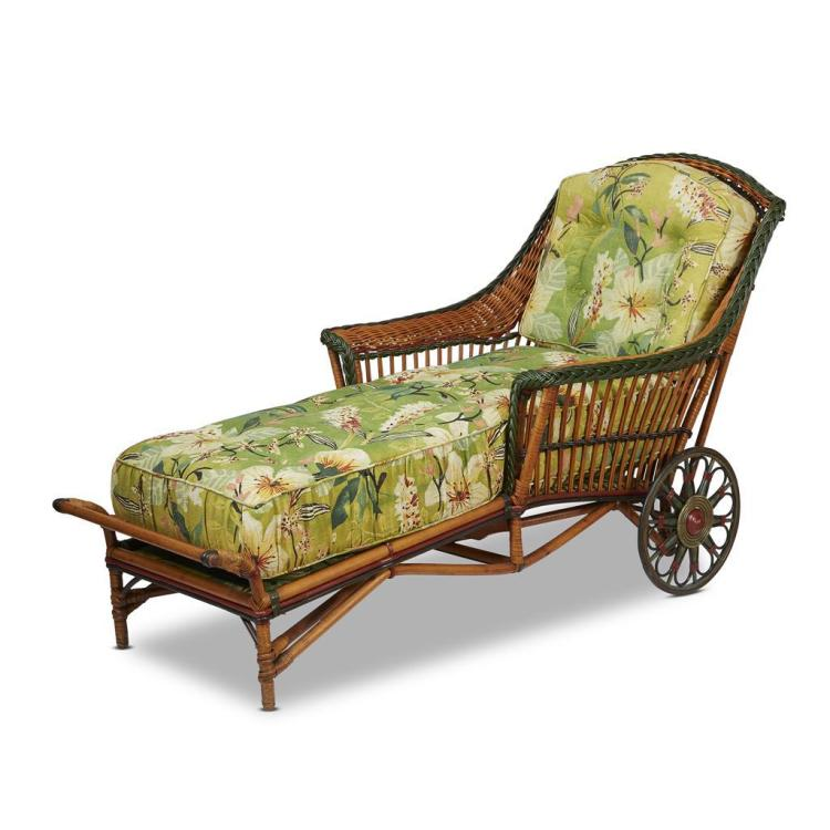 A polychrome painted rattan and upholstered chaise longue a for Chaise longue rattan
