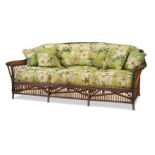 A polychome painted and upholstered rattan sofa, american, circa 1920