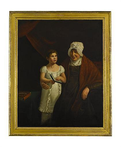 Attributed to Sarah Miriam Peale (1800-1885), portrait of little girl and her grandmother circa 1820, Unsigned, oil on canvas, retainin