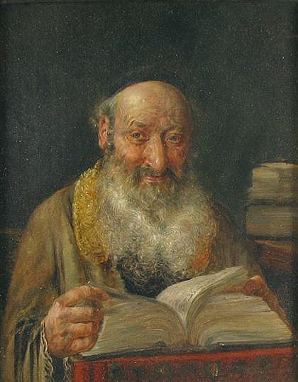 JOSEPH JOST, (GERMAN B. 1888), RABBI WITH TEXT