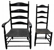 Black-painted ladderback armchair, middle atlantic states, 18th century,