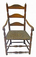 Maple ladderback splint seat side arm chair, 18th/19th century,