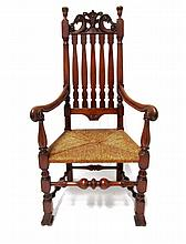 William and Mary-style banister back rush seat armchair, 20th century,
