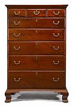 Chippendale walnut tall chest, philadelphia, pa, late 18th century,