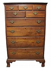 Chippendale walnut tall chest, pennsylvania, second half 18th century,