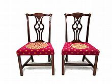 Pair of Chippendale mahogany side chairs, 18th century,