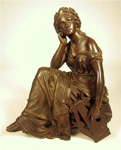 Alfred Louis Habert (French, 1824-1893), muse of music, Bronze, medium brown patina, modeled as a seated classical lady holding a lyre.