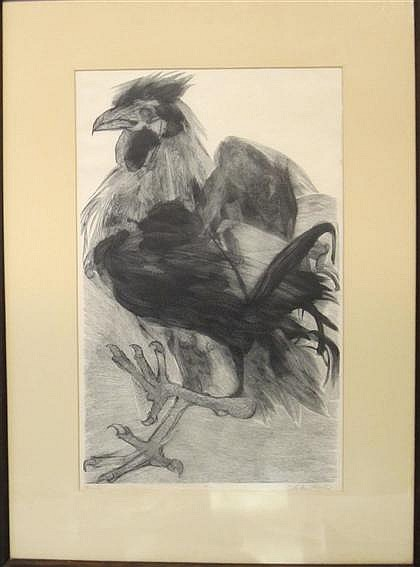 Stefan Martin (1936-1994), a rooster, Blockprint, pencil signed lower right and numbered, framed.