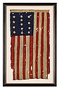 Rare thirteen star American Revolutionary Flag, hoist inscribed,