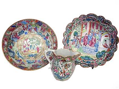 Three Chinese Export porcelain Rose Mandarin and Medallion items, mid 19th century, Including a punch bowl and scalloped serving bowl d
