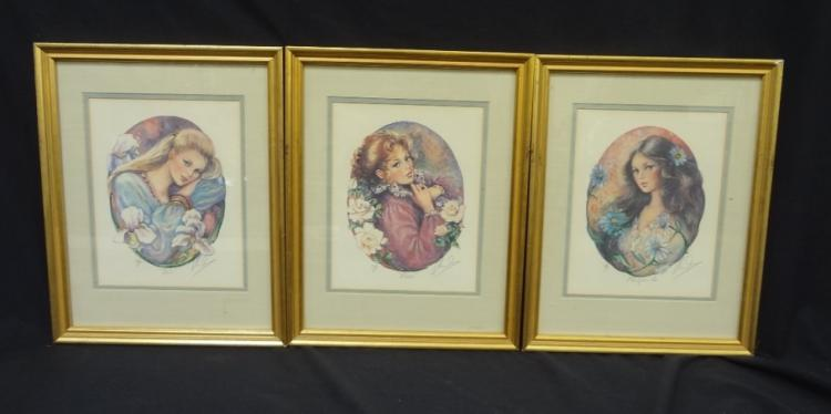(3) Mary Vickers Signed Serigraphs Iris, Rose, and Marguerite Matted and Framed