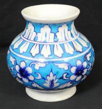 Asian Salt Glaze on Floral Bisque Bulbous Vase
