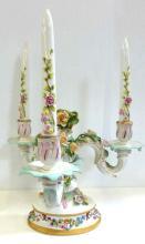 Dresden Porcelain 3 Arm Candelabra Porcelain Candles