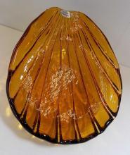 Large Blenko Glass Shell Dish w Foil Label