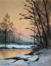 Watercolor Winter Forest Lake signed early 20th c
