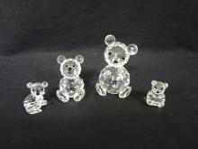 (4) Swarovski Crystal Bear Figurines