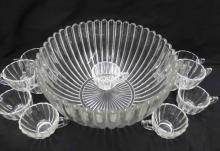 HEISEY 13 PC RIBBED GLASS PUNCH BOWL SET