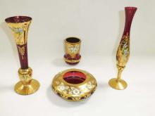 Collection Of Enamel Painted Ruby Red Bohemian Glass