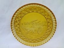 Early American Press Glass Currier and Ives Amber Water Tray