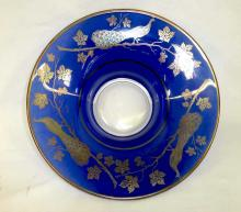 Sterling Peacock Inlay Blue Glass Console Center Bowl Design