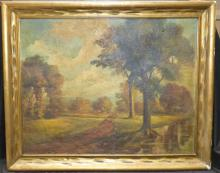 19th c Landscape Oil On Canvas Signed