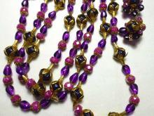West German 1950's Waterfall Necklace & Earrings Set, Amethyst & Pink