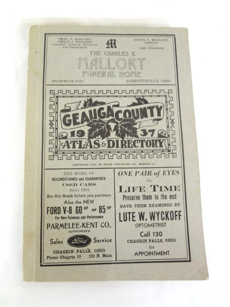 Geauga County Ohio 1937 Atlas and Directory Atlas Publishing