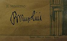 Benito Mussolini Signed 1929 Ministry of War Decree