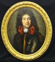 Louis XIV French School late 17th Century Oil on Board at Age 40 high relief Gilt Baroque Frame