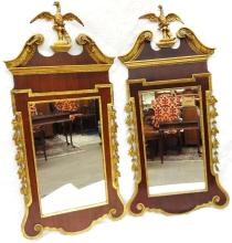 Pair Chippendale Style Gilt Hallway Mirrors Eagle Top Gilded Acorn and Oak Leaves