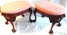 (2) Chippendale Style Upholstered Ottomans