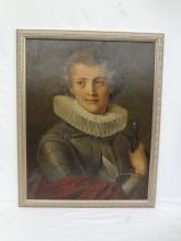 Original Oil Painting of English Empire Royal Prince with Upper Left Coat of Arms