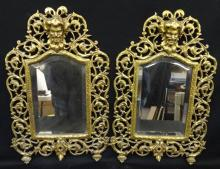 Pair Brass Victorian Small Wall Mirrors Great Scrolling Detail
