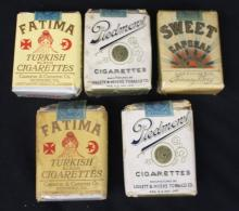 (5) Packs of late 1930's early 1940's era cigarettes