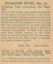 1934 Diamond Stars 16 Lloyd Waner Baseball Card