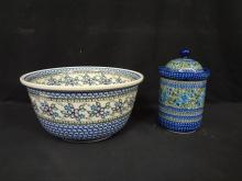 Unikat Polish Pottery (2) Pieces Hand Painted and Signed